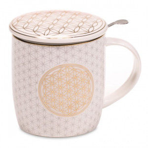 Tea Infuser Mug - Golden Flower of Life