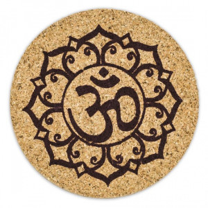 Lotus flower & OHM Symbol - Cork Mug Coaster