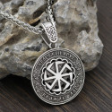 Amulet Kolovrat and Runes (Silver Plated chain)