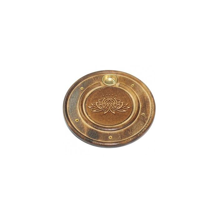 Okrągła podstawka drewniana na kadzidła - Kwiat Lotosu