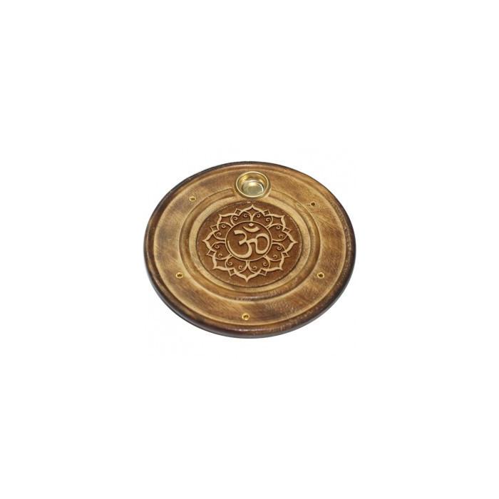 Okrągła podstawka drewniana na kadzidła - OM