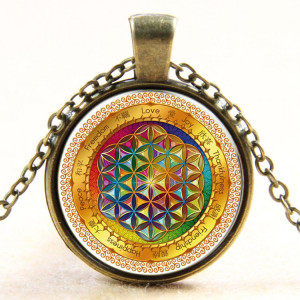 Necklace Rainbow Flower of Life - bronze