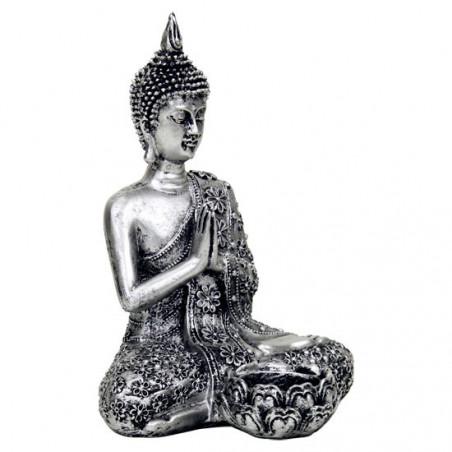 Budda z podstawką na świeczkę - srebrny