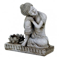 Buddha with candleholder stone grey