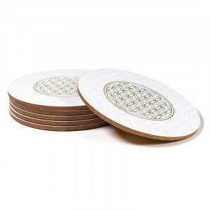 Golden Flower of Life - white mug coasters