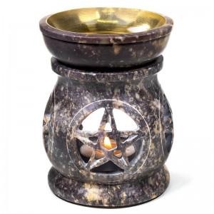 Kominek do olejków - Pentagram- Steatyt mosiądz