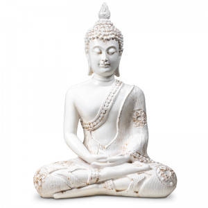Biały Medytujący Budda z Tajlandii 20cm