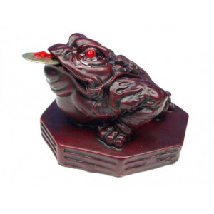 Mini statuette Feng Shui frog - red